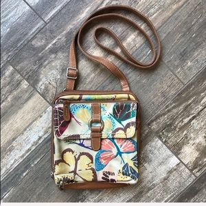 Fossil adjustable multi pocket iPad crossbody bag